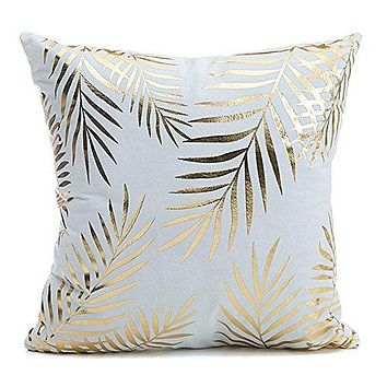 """Tree Leaves Home Flannel Throw Pillow Cover Euro Shams Pillow Covers Golden Tree Leaves Decorative Sofa Cushion Covers 18""""x18"""""""