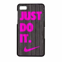 Nike Just Do It Wood Colored Darkwood Wooden Pink BlackBerry Z10 Case