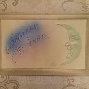 1908 Vintage New Year Postcard with Raised Moon