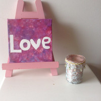 canvas acrylic painting love, size 15x15 cm