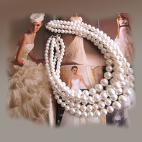 Unique pearl necklace, bridal jewelry, multi strand pearl necklace, bridesmaids jewelry, pearl jewelry, bridesmaid necklace