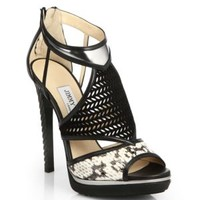 enabled: truelabel: Jimmy Choo-Florry Studded Suede Strappy Sandals