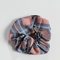 Liars & Lovers pink check scrunchie at asos.com