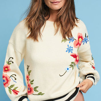 Gardenstripe Embroidered Pullover