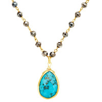 Turquoise & Pyrite Pendant Necklace
