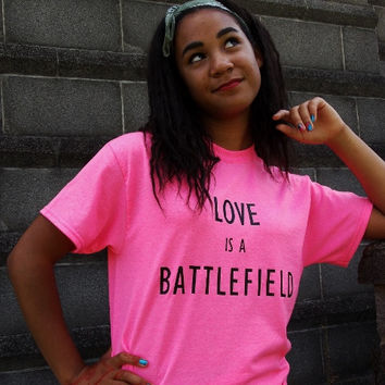 Love is a Battlefield Retro T-Shirt. Unisex Sizing Retro Music Lyrics Shirt.