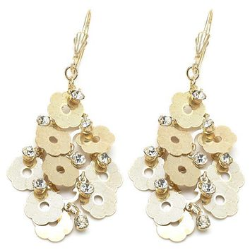 Gold Layered 5.080.005 Chandelier Earring, Flower Design, with White Cubic Zirconia, Diamond Cutting Finish, Gold Tone