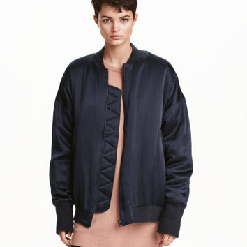 Oversized Silk Pilot Jacket - from H&M