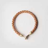 Braided Passage Genuine Leather Bracelet in Burnt Orange
