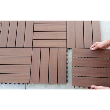 Wood-Plastic Composite Interlocking Decking Tile - Cedar WPC3 (11 tiles/box)