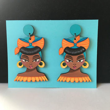 "Large Hand painted Wooden Earrings ""Cubanita"" Afro Latina Carribean Island Girl Lightweight Wood Headwrap Latinx"