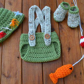 Crochet Green Baby Boy Fisherman Outfit Newborn Boy Photo Outfit