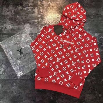 VONERE1 LV Supreme Women Fashion Embroidered Tea Red Hooded Sweater