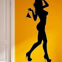 Wall Sticker Vinyl Decal Striptease Go-Go Naked Girl Super Sexy Girl  Unique Gift (z1053)