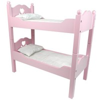 18 Inch Doll Furniture by Sophia's, Bunk Bed in Pink Cutout Design, Ladder & 2 Doll Bedding Sets, Fit For 18 Inch American Girl Dolls & More! Also Breaks Down into Two Separate Pink Bed Sets