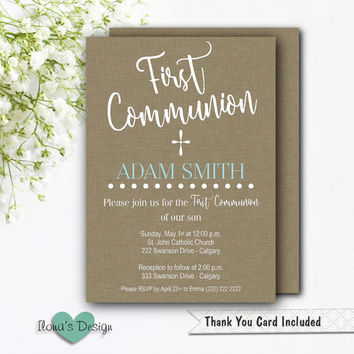 First Communion Invitation Boy - Printable Communion Invitation - Boy Communion Invite - Brown Communion Invitation