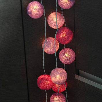 20 x Pretty in purple romance cotton ball light lantern hanging living room bedroom light soft mix purple tone