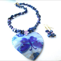 Mother Of Pearl Butterfly Heart Necklace Earring Set | Blue Butterfly Women's Necklace and Earrings | Lady Green Eyes Jewelry | Lapis Lazuli