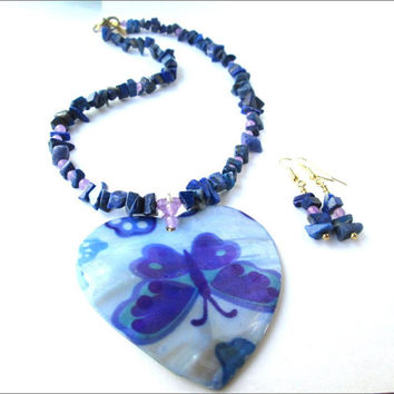 Mother Of Pearl Butterfly Heart Necklace Earring Set   Blue Butterfly Women's Necklace and Earrings   Lady Green Eyes Jewelry   Lapis Lazuli