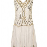 Cream Embellished Flapper Dress