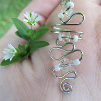Clear & White Beaded Silver Wire Ear Cuff by TheHempChick on Etsy