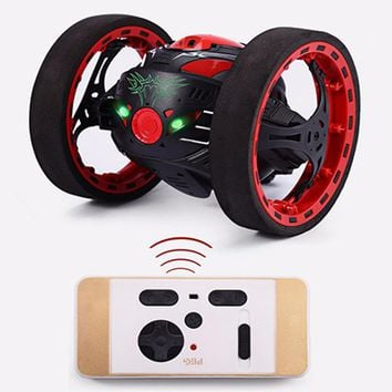 RC Car Bounce Car PEG SJ88 2.4G Remote Control Toys Jumping Car with Flexible Wheels Rotation LED Night Lights RC Robot Car gift