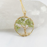 Tree Of Life Necklace Peridot Pendant On Gold Chain Wire Wrapped Wedding Jewelry August Birthstone Jewelry