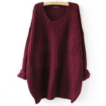 DCCK7XP Oversized Knitted Crewneck Casual Pullovers Sweater