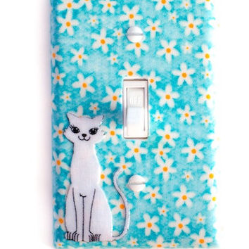 Mod Kitty Cat Switchplate In Blue & White Flower Switch Plate