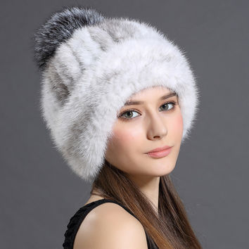 Women's Winter Hats 2016 Knitted Beanie With Fox Fur Ball Women Customized Headgear Hat For Women Casual Female Mink Fur Hats