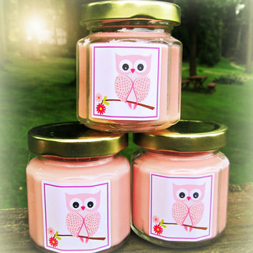 Pink Owl Baby Shower Favor Candle, Owl Themed Shower Favor, Baby Shower Favor, Party Favor, You choose candle color and scent
