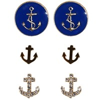 Gold/Navy Anchor Stud Set