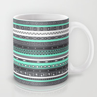 Grey Mint Tiffany Aztec Pattern iPhone Mug by RexLambo