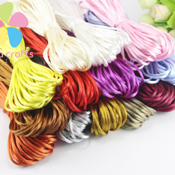 2mm 10y lot Soft Satin Rattail Silk Macrame Cord Nylon Chinese knot For Diy Bracelet Necklace Jewelry Findings D053001