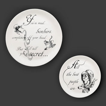 Illustrated ceramic plate, Black and White Pen and Ink Alice in Wonderland drawing - The Mad Hatter