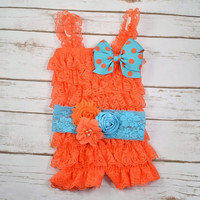 Cake Smash Outfit Girl, Orange Romper, Turquoise and Orange Headband, 1st Birthday Girl Outfit, 2nd Birthday Girl Outfit, Cake Smash Outfit