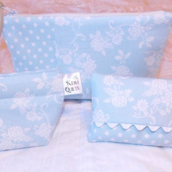 Baby Blue and White Floral Zipper Pouch Set including Coin Purse and Tissue Holder