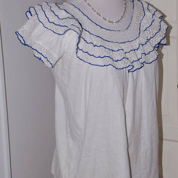 50s Peasant Blouse, Mexican, Cotton, White Lace, Blue Trim, Top, Size