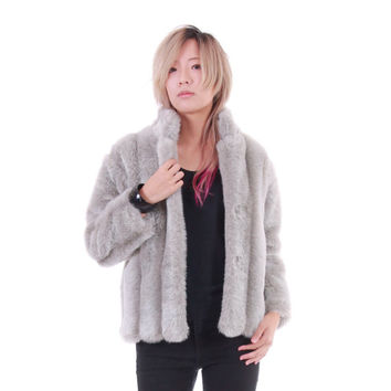 Gray Faux Fur Jacket 80s 90s Vintage Winter Outerwear Boho Hipster Fake Fox Fur Coat Womens Clothing Size Small Medium