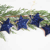 Pottery Galaxy Stars Ornaments For Christmas Tree And Gift Tags Holiday Shopping