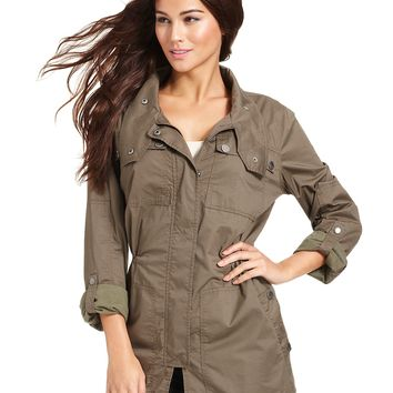 DKNY Jeans Coat, Anorak Military Cotton-Blend - Coats - Women - Macy's