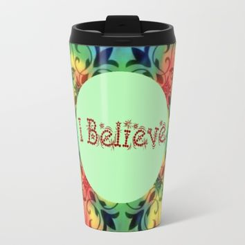 I believe in the cross christian coffee mugs Metal Travel Mug by Coffee Cup Heaven