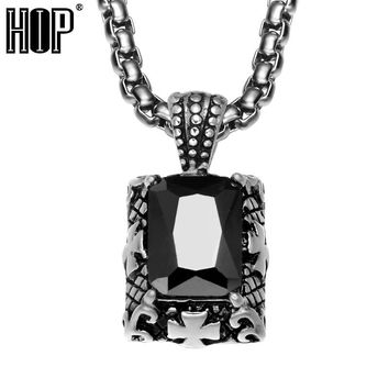 HIP Punk Gothic Black Natural Stone Pendants Necklaces Cross Pattern Stainless Steel Cubic Zirconia Necklace for Men Jewely