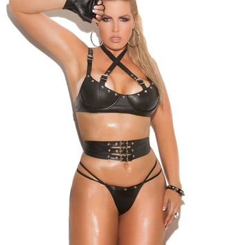 Plus Size 3 piece set Leather underwire bra with criss cross straps with buckle detail, adjustable straps and back closure Waist cincher with adjustable buckle detail Matching panty included *Available Boxed Black