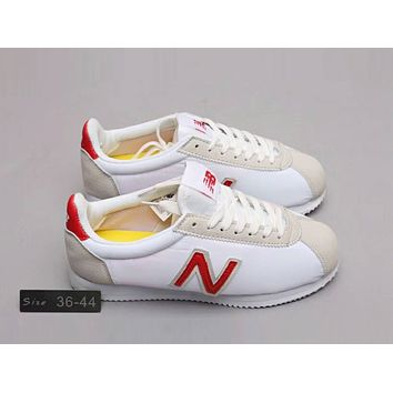 New Balance Fashion Women Men Casual Sport Running Shoes Sneakers White+Grey(Red N Word) I-A0-HXYDXPF