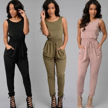 New fashion sexy sleeveless Collect waist pocket jumpsuit