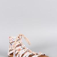 Qupid Abstract Strappy Gladiator Flat Sandal