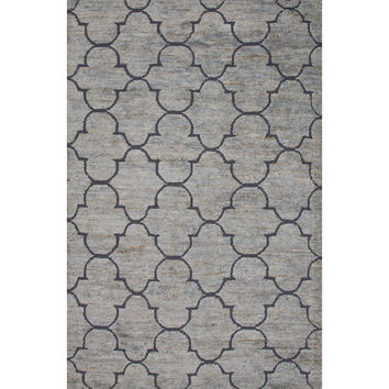 Jaipur Rugs Naturals Moroccan Pattern Blue Jute and Wool Area Rug ITH01 (Rectangle)
