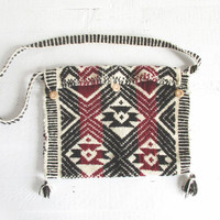 vintage woven satchel, peruvian shoulder bag, ethnic wool tapestry purse