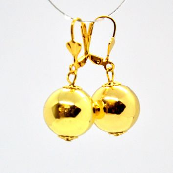 (1-1033-h9) Gold Plated Drop ball Earrings, 15mm.